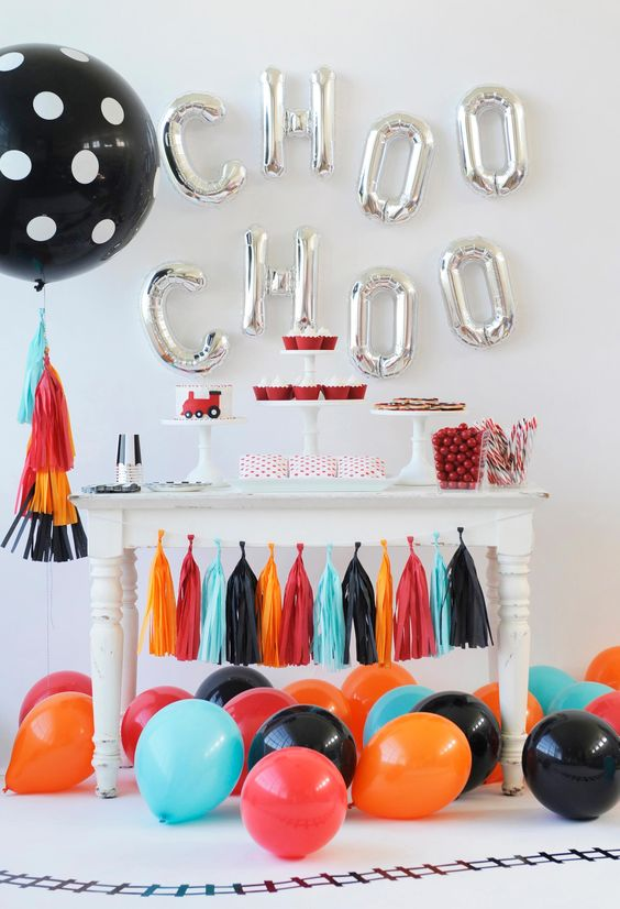 silver letter balloons for the dessert table backdrop