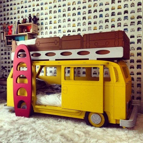 yellow van bed with storage on the roof