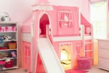 04 bold pink castle with a bed and various spaces and lights