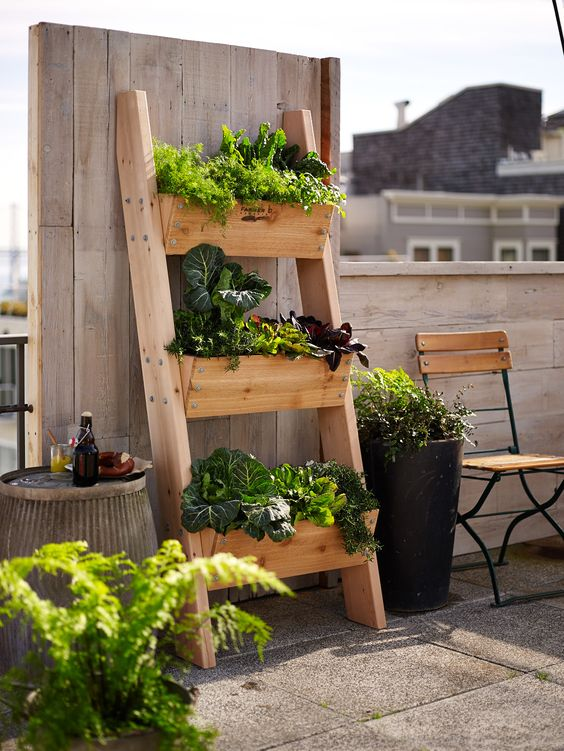 designed to resemble a rustic ladder, planting boxes are attached to a cedar frame