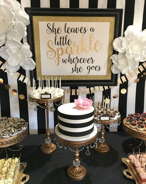 elegant black, white and gold sparkle party decor and desserts