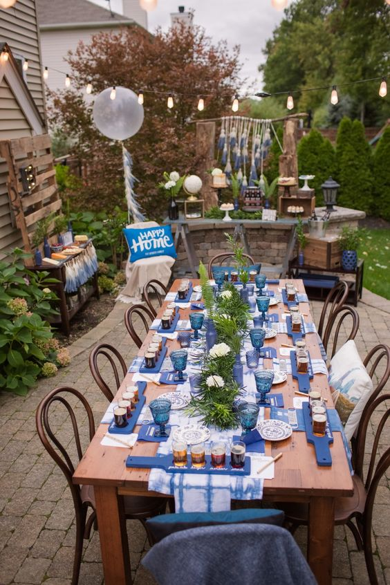 masculine and pretty beer tasting party decor