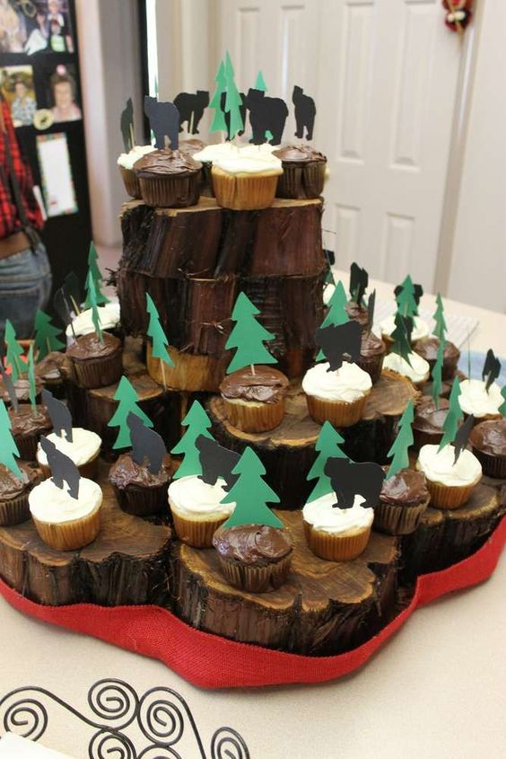 rustic or lumberjack dessert table for a 50th birthday party