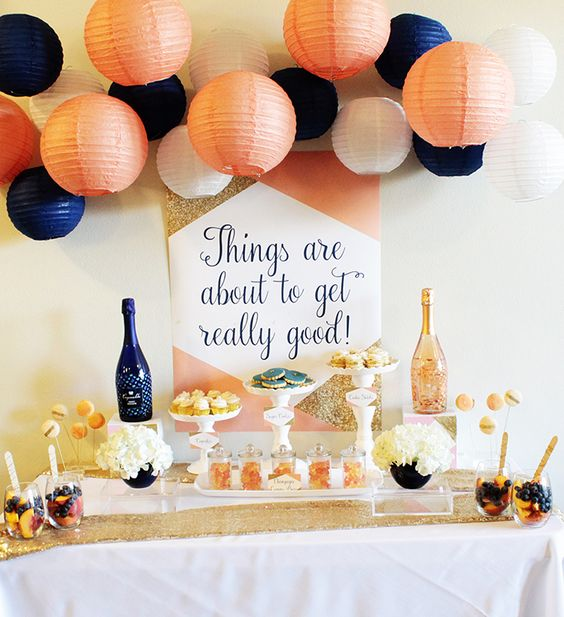 cute colorful dessert table decor with a sequin tablecloth and paper lanterns & 18 Chic 40th Birthday Party Ideas For Women - Shelterness