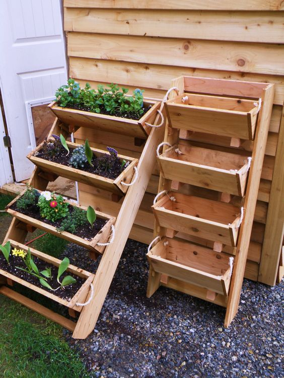 05 ladder-looking cedar wood planter will save a lot of space