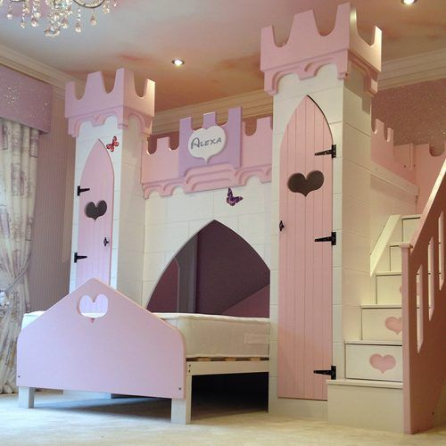 pink and purple castle with heart decor