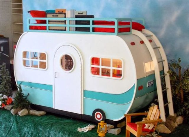 retro camper playhouse bed with storage spaces