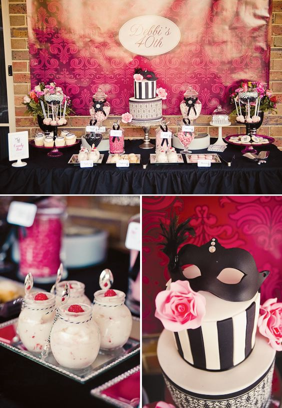 chic masquerade-themed dessert table in black, white and pink