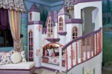 06 cozy castle loft bed with purple in decor