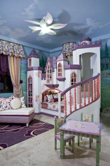 cozy castle loft bed with purple in decor