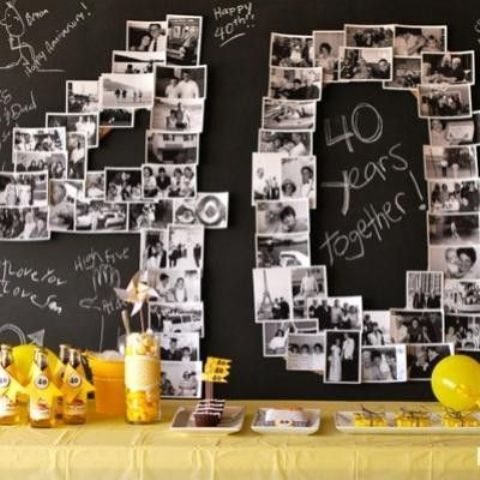 create a cool backdrop of black and white photos shaped as 40