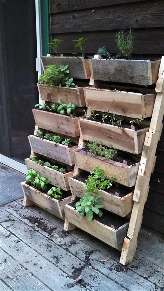 ladder-style herb garden to build from pallets or just reclaimed wood