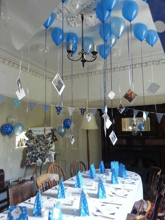 all-blue party reception decor for an 80th birthday party
