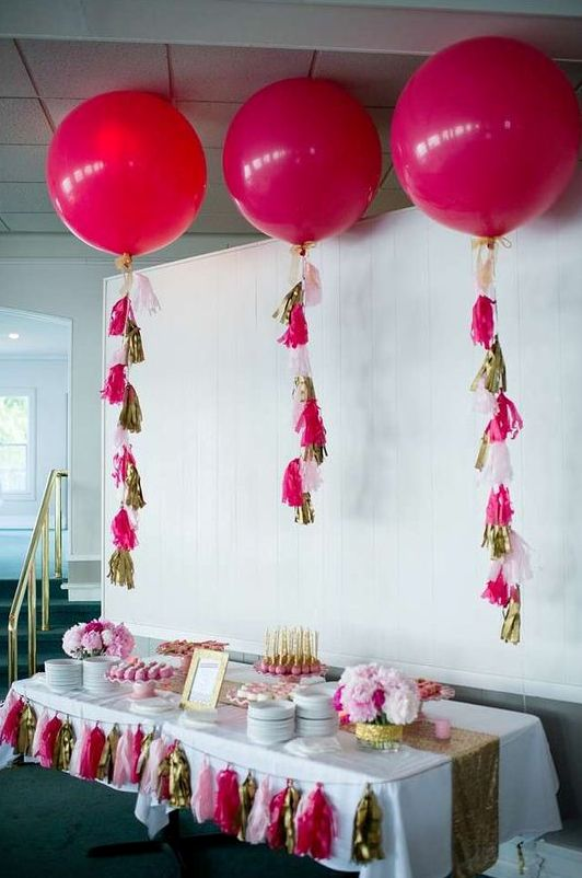 glam dessert table in hot pink, gold and blush