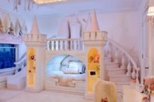 07 large blush castle with a slide, a bridge and storage to feel a real princess