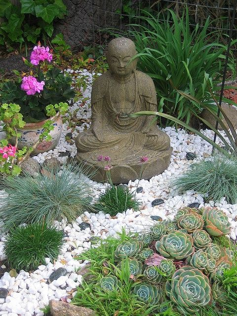 Beautiful Small Zen Rock Garden With Succulents And Grasses