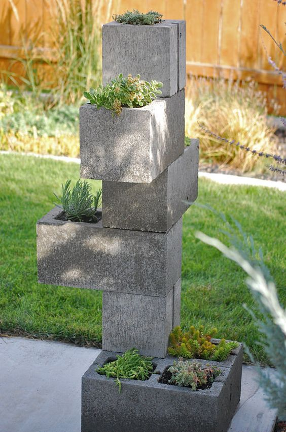 cinder block vertical planter for a modern space can be easily DIYed