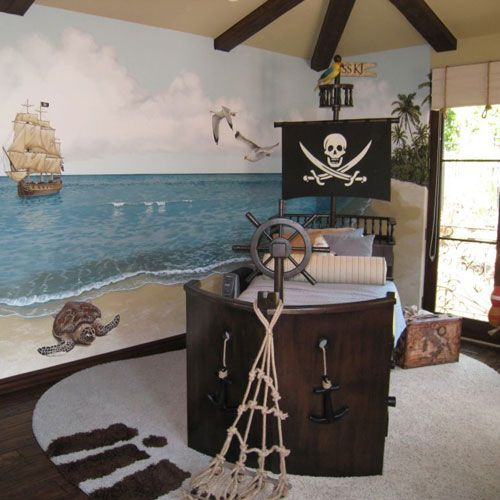 pirate ship bed with a wheel and anchors