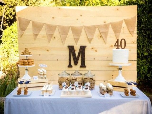 simple dessert table for a 40th manly birthday party