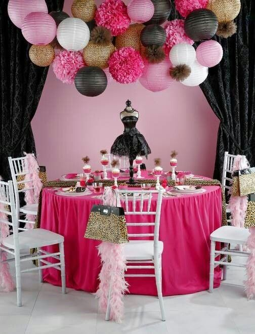 throw a Diva-themed party in hot pink, black and white and animal prints