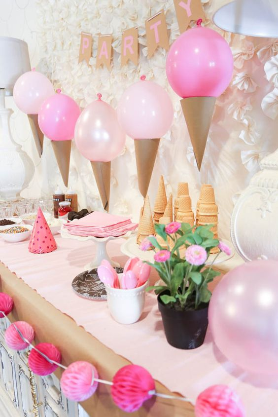 balloon ice cream cone garland over the dessert table
