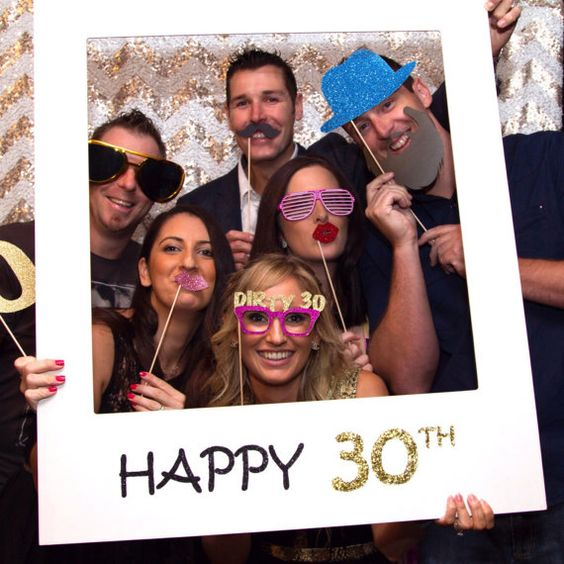 giant Polaroid frame for 30th birthday party photo booth