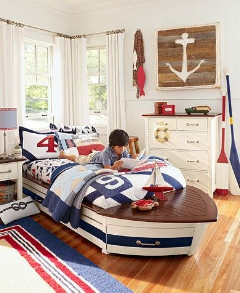 seaside theme room with a boat bed is a gorgeous idea