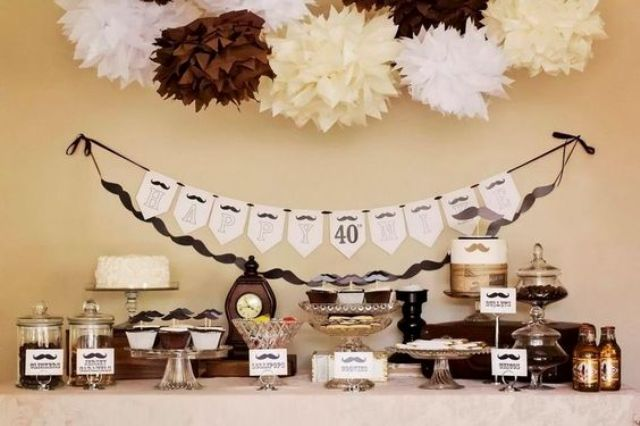 simple brown and ivory dessert table decor for an adult b day party