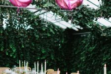 10 glam boho birthday table and pink number balloons