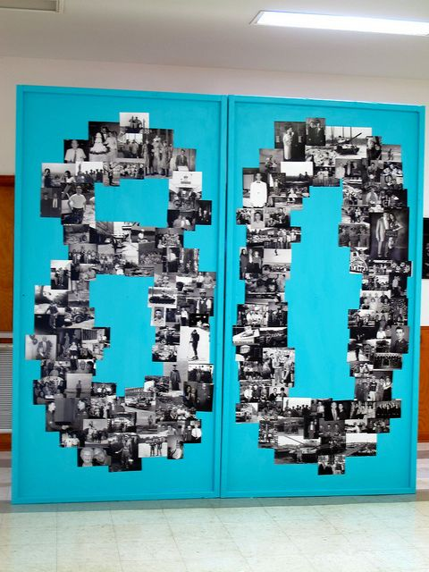 birthday numbers in old photos as a creative photo decoration
