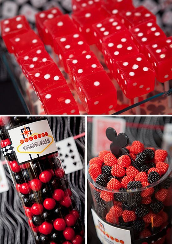 dessert table for a Las Vegas inspired 40th B-day party