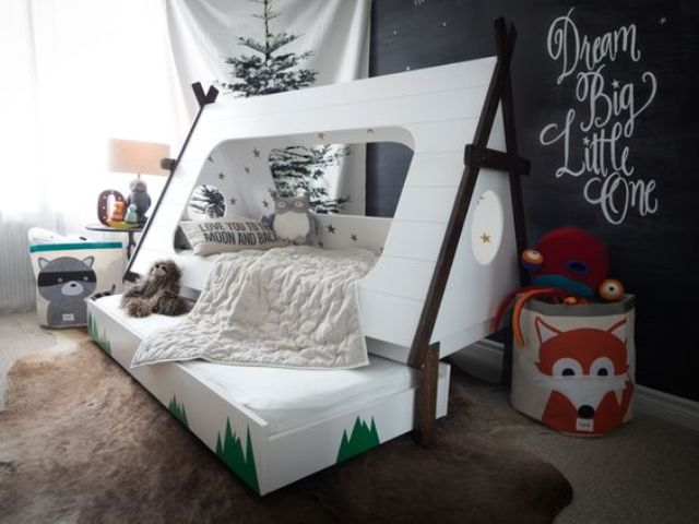 real tipi bed with an additional sleeping space for the kid's friends