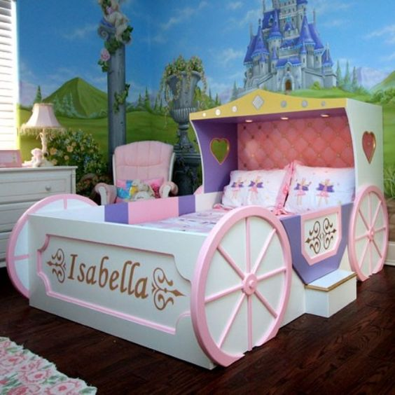 colorful modern carriage bed for a little girl
