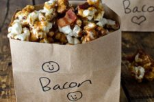 13 bacon bourbon caramel popcorn for treats and favors