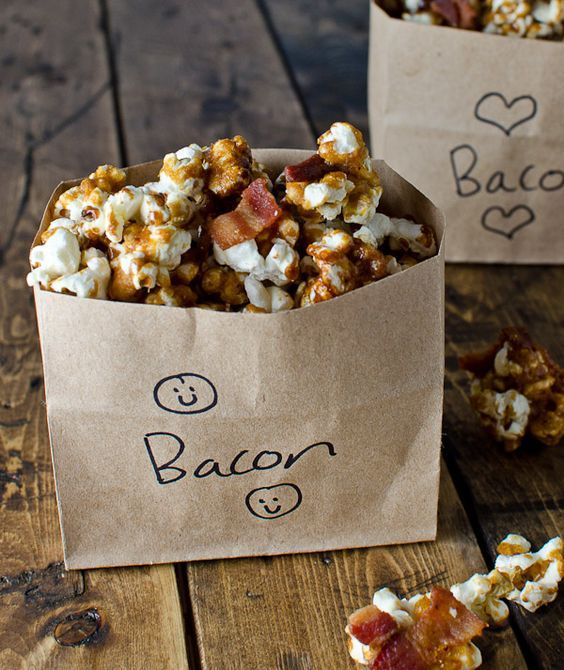 bacon bourbon caramel popcorn for treats and favors