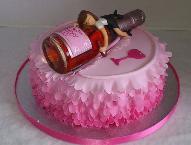 Funny 40th Birthday Cake With A Bottle On Top