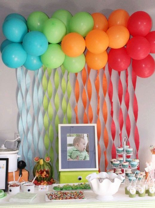 rainbow balloons to accentuate the dessert table