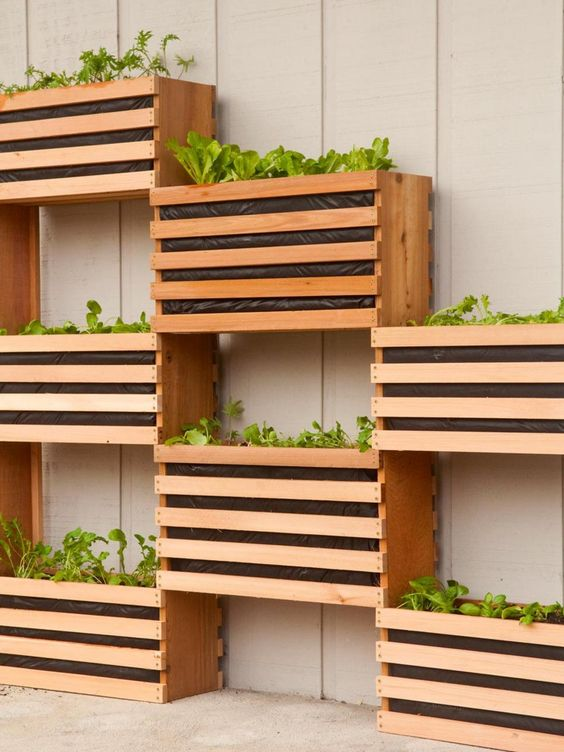 space-saving crate garden idea for even the smallest patio