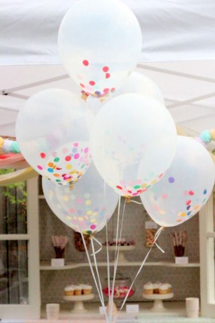 sprinkle balloons for decorating a dessert table