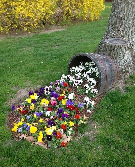 the same type of flowers but different colors out of a barrel