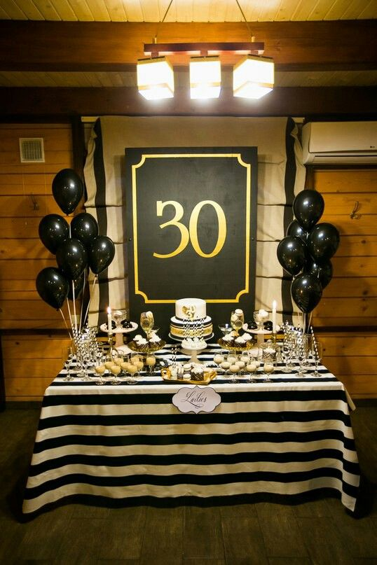 Idea For A 30th Birthday Party White Black And Gold Dessert Table With Striped Decor