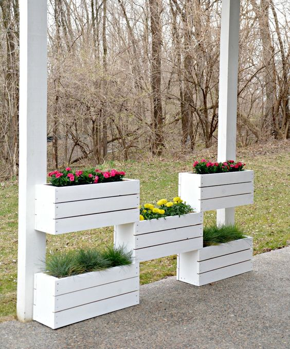 vertical crate planter system for your porch