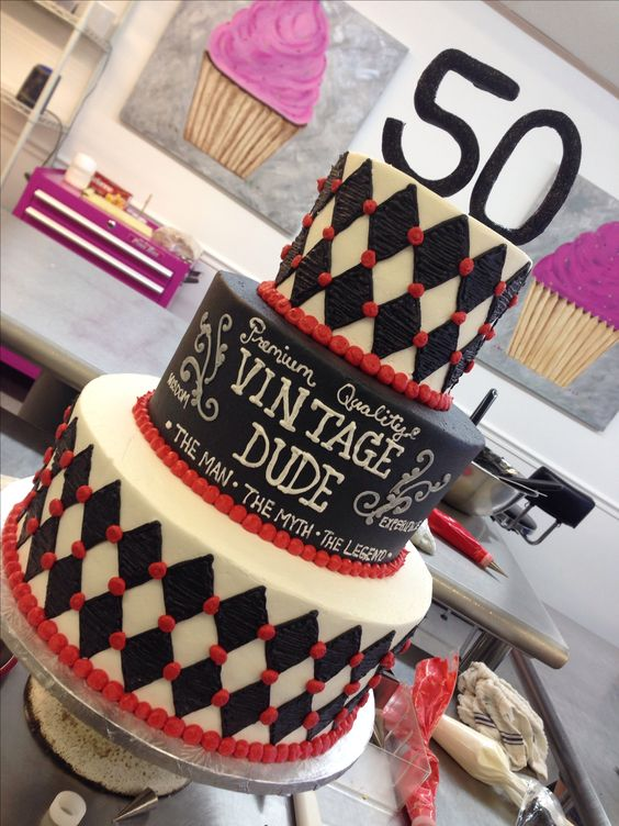 50th birthday cake - vintage dude - for a man