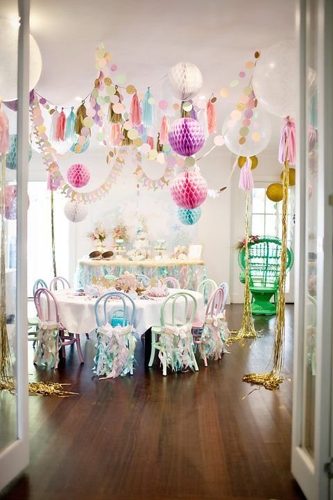 balloons hanging over the tables will easily create a festive ambience