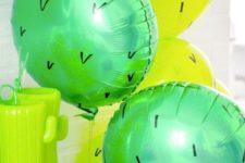 15 cactus balloon for a desert-themed baby shower