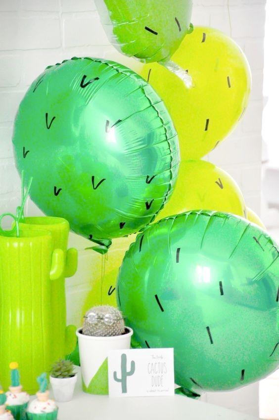 cactus balloon for a desert-themed baby shower