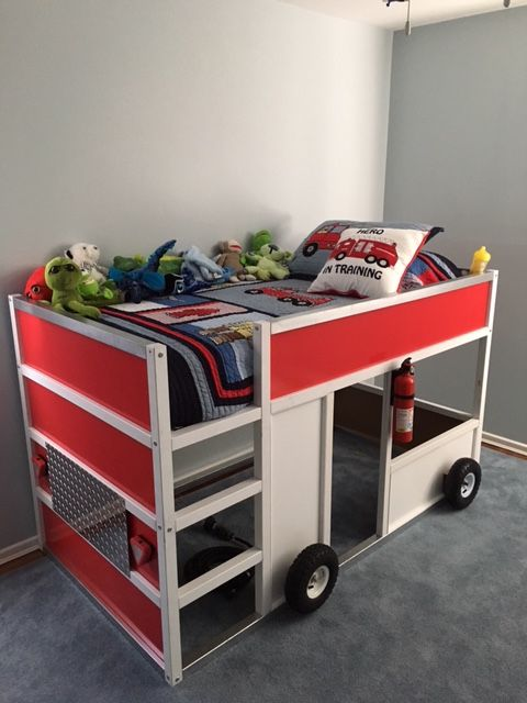fire truck bed from a usual IKEA bunk bed