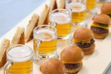 16 beer, burgers and toasts are a perfect choice for guys