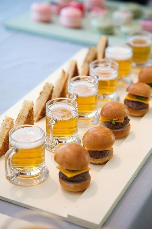 beer, burgers and toasts are a perfect choice for guys
