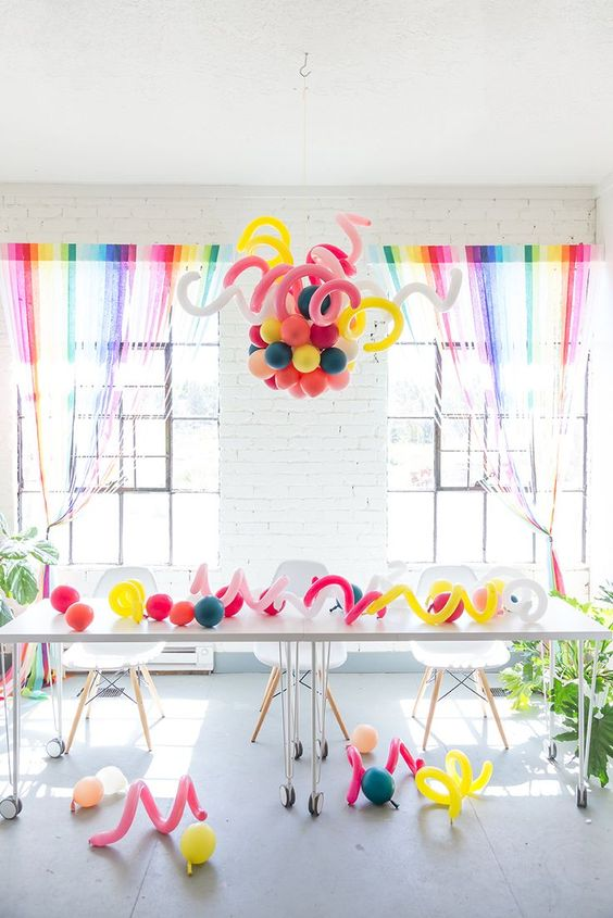 colorful balloon chandelier for the party